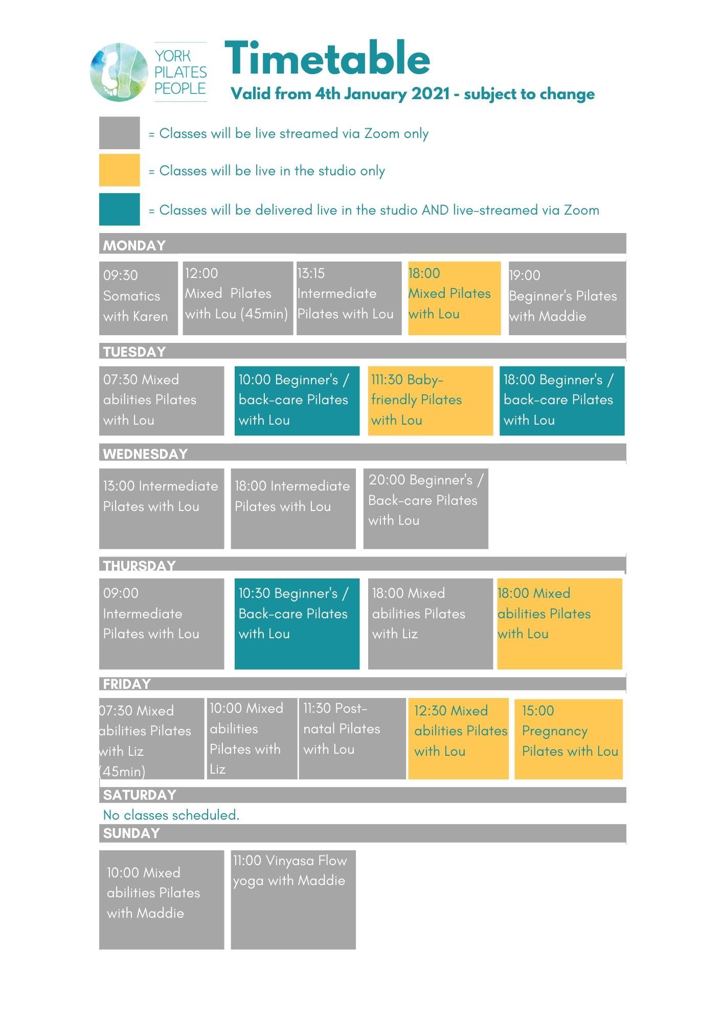 Latest timetable